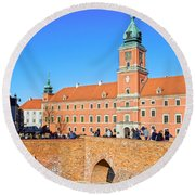 Royal Castle In Warsaw Round Beach Towel