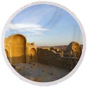 Ruins Of Shivta Byzantine Church Round Beach Towel