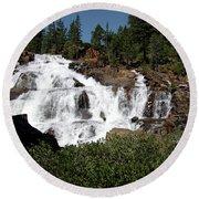 Running Water Glen Alpine Falls Round Beach Towel