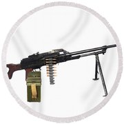 Russian Pkm General-purpose Machine Gun Round Beach Towel