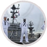 Sailors Man The Rails Aboard Round Beach Towel