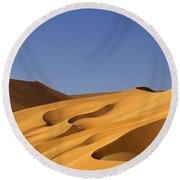Sand Dune Against Clear Sky Round Beach Towel
