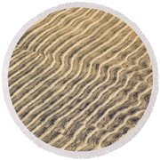 Sand Ripples In Shallow Water Round Beach Towel
