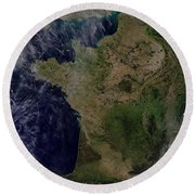 Satellite View Of France Round Beach Towel