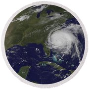 Satellite View Of Hurricane Irene Round Beach Towel