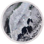 Satellite View Of Kamchatka Peninsula Round Beach Towel