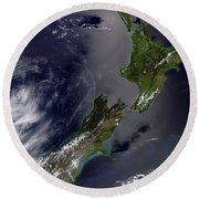 Satellite View Of New Zealand Round Beach Towel