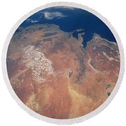 Satellite View Of Planet Earth Round Beach Towel