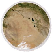 Satellite View Of The Middle East Round Beach Towel