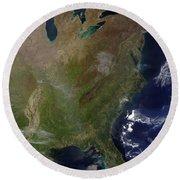 Satellite View Of The United States Round Beach Towel