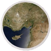Satellite View Of Turkey And The Island Round Beach Towel