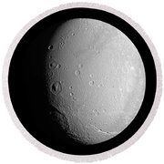 Saturns Moon Dione Round Beach Towel