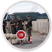 Scenery Of A Checkpoint Used Round Beach Towel by Luc De Jaeger