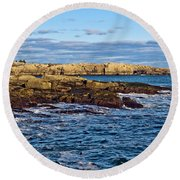Schoodic Point Acadia National Park Round Beach Towel