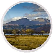 Scottish Landscape View Round Beach Towel