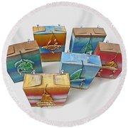 Sea Boxes Round Beach Towel