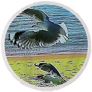 Sea Gulls In Flight  Round Beach Towel