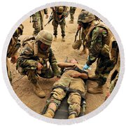 Seabees Conduct A Mass Casualty Drill Round Beach Towel