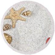 Seastar And Shells Round Beach Towel by Joana Kruse
