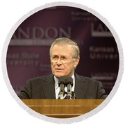 Secretary Of Defense Donald H. Rumsfeld Round Beach Towel