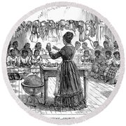 Segregated School, 1870 Round Beach Towel