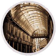 Sepia Toned Image Of Leadenhall Market London Round Beach Towel