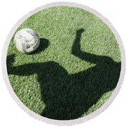 Shadow Playing Football Round Beach Towel