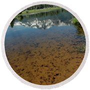 Shallow Water Reflections Round Beach Towel
