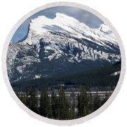 Sharp Rundle Peaks Round Beach Towel