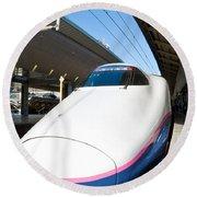Shinkansen At Tokyo Station Round Beach Towel