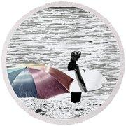 Surfer Umbrella Round Beach Towel