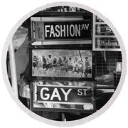 Signs Of New York In Black And White Round Beach Towel by Rob Hans