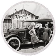Silent Film: Automobiles Round Beach Towel