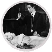 Silent Film Still: Doctor Round Beach Towel