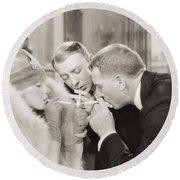 Silent Film Still: Smoking Round Beach Towel
