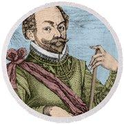 Sir Francis Drake, English Explorer Round Beach Towel