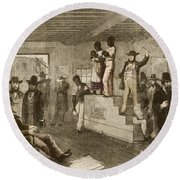 Slave Auction, 1861 Round Beach Towel by Photo Researchers