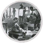 Slaves In Union Camp Round Beach Towel