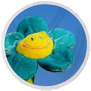 Smile Flower Round Beach Towel
