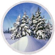 Snow-covered Pine Trees Round Beach Towel