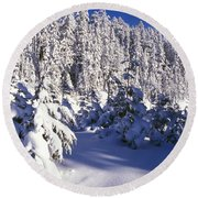 Snow-covered Pine Trees On Mount Hood Round Beach Towel