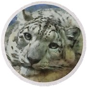 Snow Leopard Painterly Round Beach Towel
