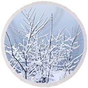 Snowy Trees Round Beach Towel