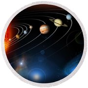 Solar System Round Beach Towel