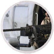 Soldier Mans A .50 Caliber Machine Gun Round Beach Towel