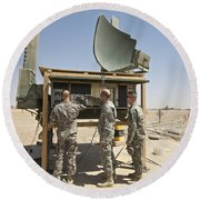 Soldiers Checking A Radar System Round Beach Towel
