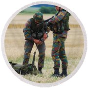 Soldiers Of The Belgian Army Round Beach Towel