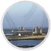 Space Shuttle Atlantis And Endeavour Round Beach Towel