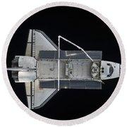 Space Shuttle Atlantis Backdropped Round Beach Towel
