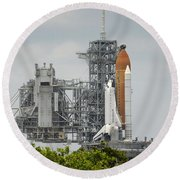 Space Shuttle Endeavour On The Launch Round Beach Towel